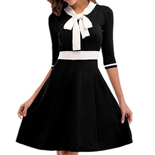 Lace Temperament Women's Sleeve Dress Five NEW Bow 2018 Up Dress Neck Waist Elegant Black V qX5Af