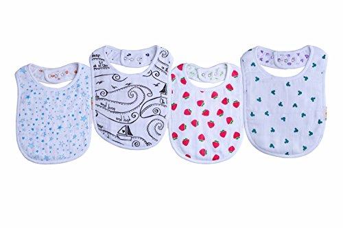 Baby Bandana Muslin Bibs, 4 Pack Organic Cotton Bibs for Boys and Girls, Cute Baby Bibs Set