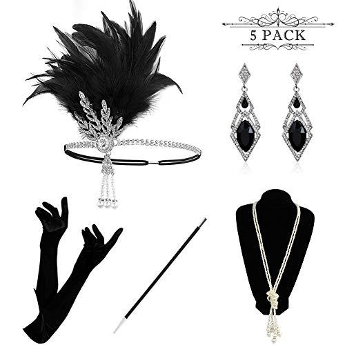 HAMIST 1920s Accessories Set Flapper Costume for Women Headband Gloves Cigarette Holder Necklace (Silver-E)]()