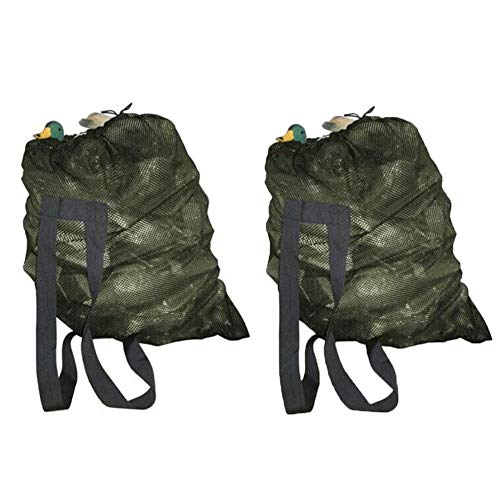 GUGULUZA Green/Camo Mesh Decoy Bags with Shoulder Straps - 2 Pack,for Hunting Duck/Goose Waterfowl Backpack (Green- 2 - Strap Decoy