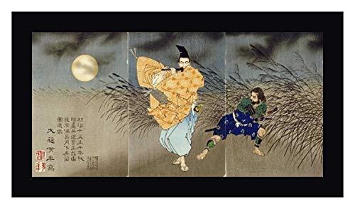 "Playing The Flute by Moonlight by Tsukioka Yoshitoshi - 23"" x 43"" Black Framed Giclee Canvas Art Print - Ready to Hang"