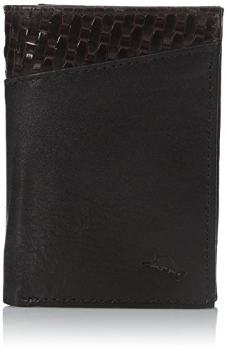 Tommy Bahama Men's Milled Leather and Basket Weave Trifold,Black,One (Black Basket Woven Leather)