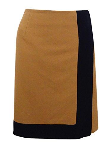 Nine West Women's Stretch Crepe a Line Skirt, Brandy/Black, 14