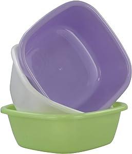 Jandson 8 Quart Plastic Basin Tub, Colorful Small Dish Pan, 3 Packs