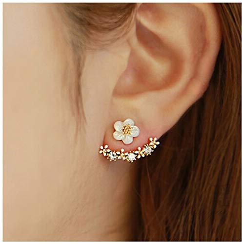 Climber Dangles - Yfe Women Earring Studs Daisy Flowers Earrings Geometry Jewelry Earrings for Women and Girls Ear Jacket Studs