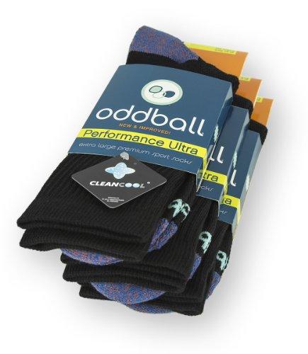 Oddball Performance Plus II Herren Crew Socken XXL (Herrengröße 14-18) (3er Pack) Schwarz