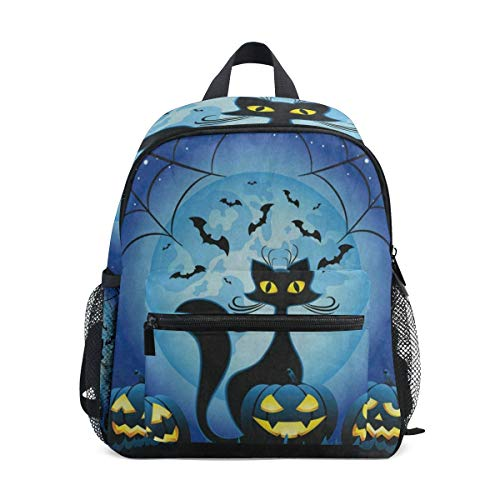 Hipster Cat Full Moon Spider Web Halloween School Backpack for Girls Kids Elementary School Bag Mini -