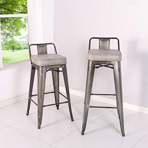 New Pacific Direct 9300031-239 Metropolis PU Leather Low Back Bar, Set of 4 Bar & Counter Stools, Vintage Mist Gray ()