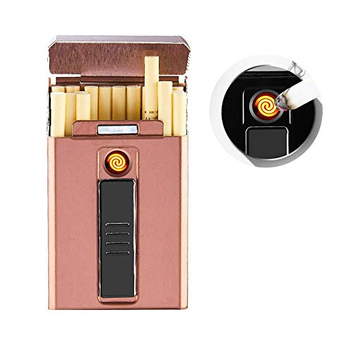 (TEEPAO Cigarette Case With Lighter Built In USB Lighter, Slim 20 Cigarette Case Box For Women With Rechargeable Electric Lighter, Flameless Windproof Cigar Torch Lighter Gift Set, 5.5 9 CM)
