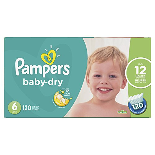 Pampers Baby Dry Disposable Diapers Size 6, Economy Pack Plus, 120 Count