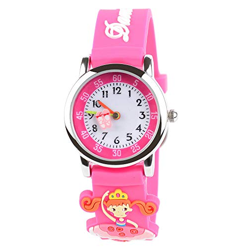 Venhoo Kids Watches Cute 3D Cartoon Waterproof Silicone Children Toddler Wrist Watch Time Teacher Birthday Gift 3-10 Year Boys Girls Little Child (Pink Dancing ()