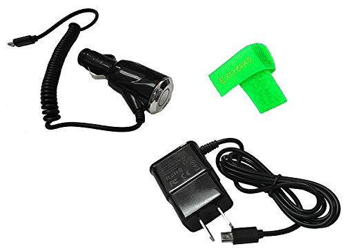 2 AMP Car Charger + Wall Travel Home Charger For Kyocera DuraXV LTE E4610 (Combo Charger)