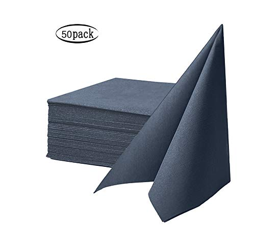 CLEAN LEADER Cloth Like Napkins,Disposable Napkins,Air-Laid Dinner Napkin,Premium Colored Napkins Ideal for Dinner, Events, Weddings&Party,Durable, Elegant,Dark Blue,Set of 50 16 x 16 inches (Blue Slate Paper Napkins)