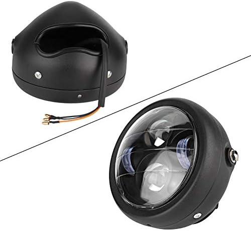 Scocca nera//vetro giallo Terisass faro per motocicletta 12V 35W Retro moto LED anteriore faro triangolo moto faro lampadina universale
