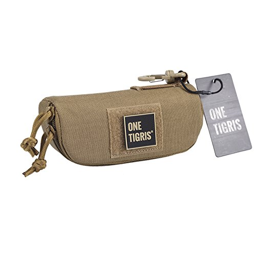 OneTigris Eyeglasses Hard Case Tactical Molle Zipper Sunglasses Carrying Case 1000D Nylon with Clip (Coyote - Case Glasses Personalised
