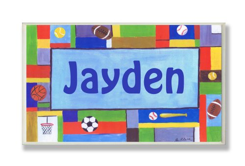 The Kids Room by Stupell Jayden, Contemporary Sports Personalized Rectangle Wall Plaque (Retail Pnp Box)
