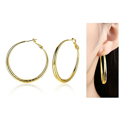 Eternity J. Gold Plated Round Hoop Earrings 40mm Diameter