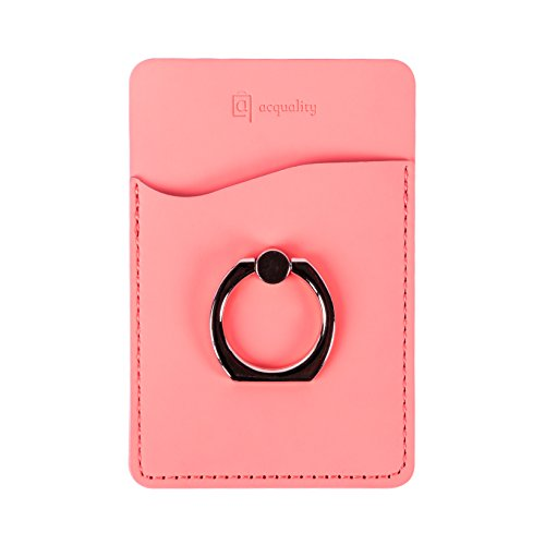Acquality PU Leather Cell Phone Wallet/Pocket/Card Holder with Ring Stand for Mobile Devices, Adhesive Sticker Back (Salmon)