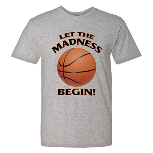 Men's / Unisex Let the Madness Begin March Basketball NCAA Shirt - Soft-Style High Quality Fashion Tee Heather (XL)