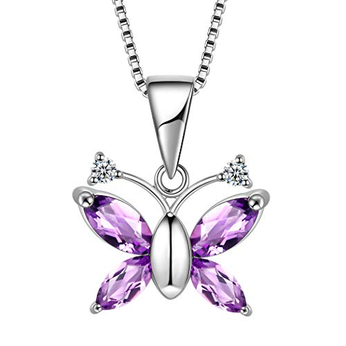 Animal Butterfly Necklace - Aurora Tears 925 Sterling Silver Purple Butterfly Pendant Women Crystal Animal Necklaces Girls Butterflies Jewelry Gift for Dating/Party/Wedding, 18
