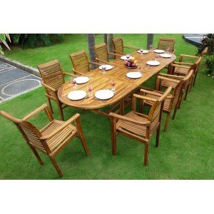 Salon de jardin en Teck huilé XXL : Sumatra Raja table teck: Amazon ...