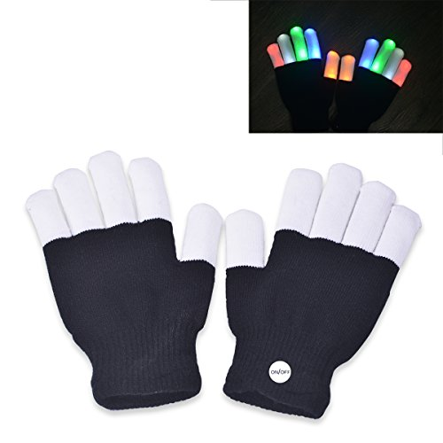 I-original Children Rainbow LED Finger Light Gloves - 5 Colors Flashing 6 Lighting Modes Fashion Novelty Light up Toys for Kids