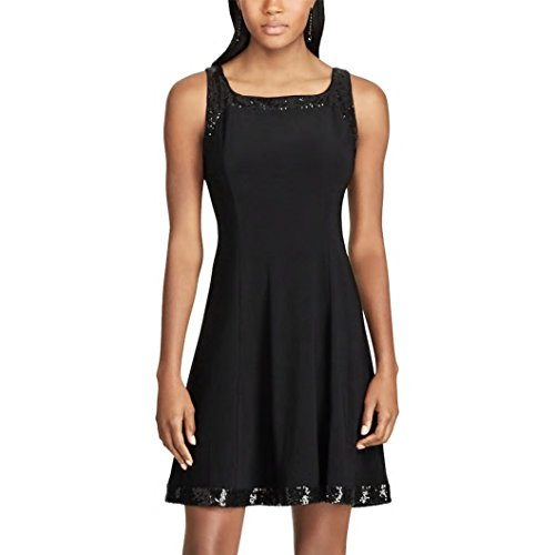 Chaps Women's Sequined Jersey Dress (Black Sequin, Small)