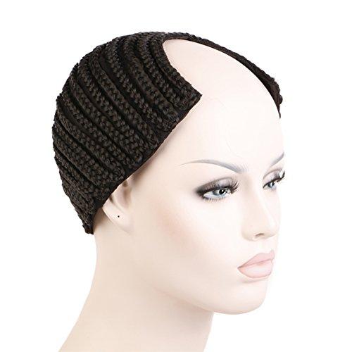 Creamily Cornrows Cap Cbwigs Wave Cap Braided Wig Cap for Easier Sew Hair Weft Designed with Combs Medium Cap (Black U-Part Style)