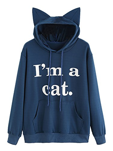Romwe Women's Long Sleeve Kangaroo Pockets Slogan Letter Print Cute Cat Ear Pullover Hoodie Navy -