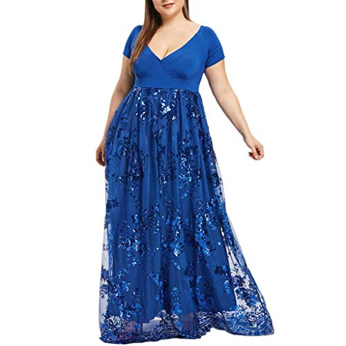 CCatyam Plus Size Dresses for Women, Skirt V-Neck Sequined Mesh Print Maxi Evening Party Fashion Blue