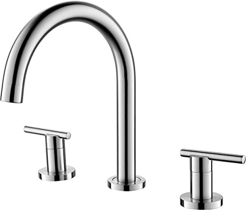 Brushed Nickel Widespread Bathroom Faucet 3 Hole, Lavatory Vanity Basin Sink Faucets Two Handle, Bathroom Basin Mixer Lavatory Tap Lead Free with Pop Up Drain, Etel Y2512