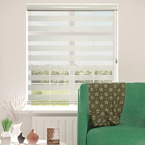 ShadesU Zebra Dual Layer Roller Sheer Shades Blinds Light Filtering Window Treatments Privacy Light Control