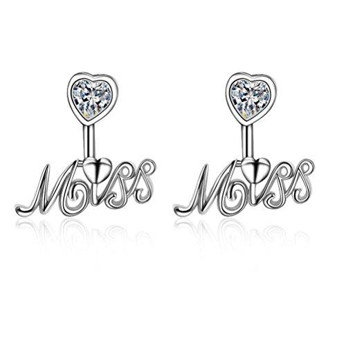 Erica 925 zircon en forme de coeur Boucles d'oreilles Alphabet pour Femmes Filles