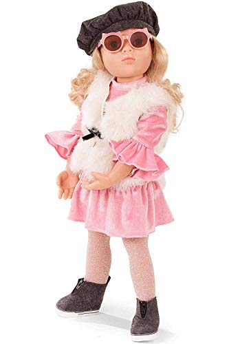 "Götz Happy Kidz Lina 19.5"" Multi-Jointed Posable Standing Doll with Blonde Hair to Wash & Style, Blue Eyes and Pink Velour Dress"