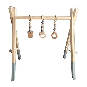 HB.YE 3 in 1 Handmade Wooden Baby Play Gym with Hangers and Animal Pendant Rattles Teether, Sensory Activity Toy - Grey Frame