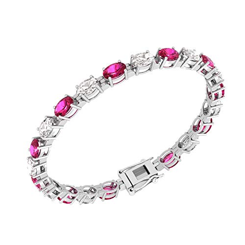 Solid Sterling Silver 6x4mm Oval Cut 8 CTW Ruby and White Topaz Brilliant Sparkle Tennis Bracelet for Women, Box Chain with Safety