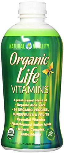 Natural Vitality Organic Life Vitamins Liquid - 30 fl. oz. Organic Aloe Vera, Plant Sourced Amino Acids, Vegetarian Formula. Multi Vitamin ()