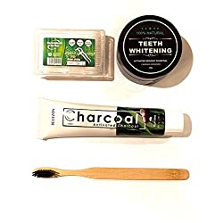 T-Care Activated Organic Charcoal Teeth-Whitening Kit. 4 Piece Tooth Care Kit Used For Better Whitening Results. Tooth Brush, Floss Picks, Charcoal Powder, Charcoal Tooth Paste