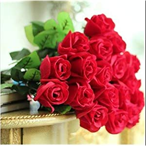 Artificial Red Rose Bud Silk Flower for Home and Wedding Party Decor Set of 30 54
