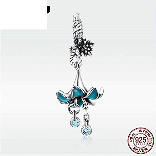 Hot Fashion Silver 925 Blue Flower Orchid Zircon Beads Fit Bracelet Necklace Pendant for Women Girl Sterling Jewelry Dac034
