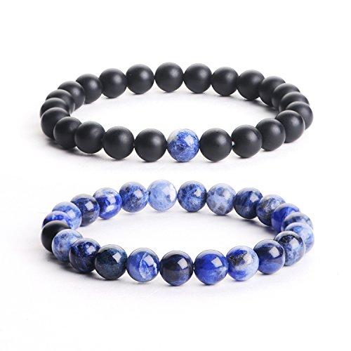 Agate Stones Bead Healing Bracelet - iSTONE Distance Bracelets Black Matte Agate & Blue Agate Energy Healing Stone Beads Bracelet Set Couple Jewelry