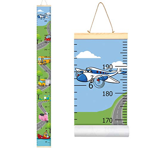 Sylfairy Baby Height Growth Chart Wall Ruler for Kids Roll-up Canvas Height Chart Removable Wall Hanging Measurement Chart Wall Decoration for Nursery Room Bedrooms 79