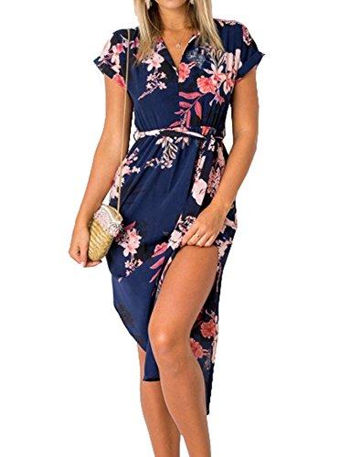 Murimia Womens Dresses Summer Casual V-Neck Floral Print Side Slit Midi Dress with Belt