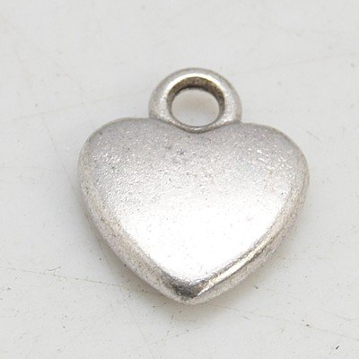 Tiny Heart Charm - Little Antique Silver Heart Charms For Bracelets & Jewelry Making- Lead & Nickel Free-12mm (1/2 inch)
