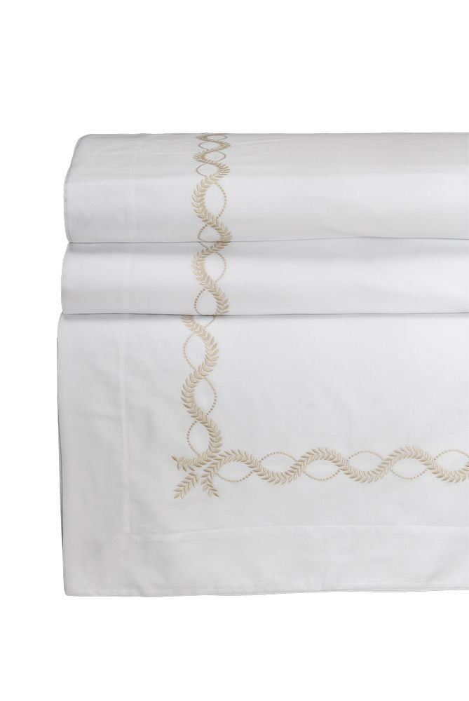 Dea Diana Embroidery Sateen Flat Sheet, Queen, White/Beige