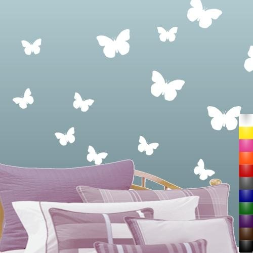 Amazon.com: StikEez White Butterfly 13 Pack Wall Decals: Home ...