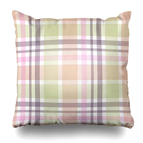 Hitime Throw Pillow Cover Striped Color Abstract Geometric Crossed Stripes Plaid Graphic Monochrome for Interi Garment Decorative Pillowcase Square Size 18 x 18 Inches Home Cushion Cases