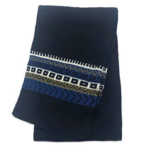 (accsa Men Jaquard Snow Flake Pattern Rib Knit Scarf Navy Valentines Gifts)