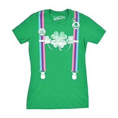 Womens Rainbow Suspenders Funny Shamrock Irish St. Patrick's Day T shirt