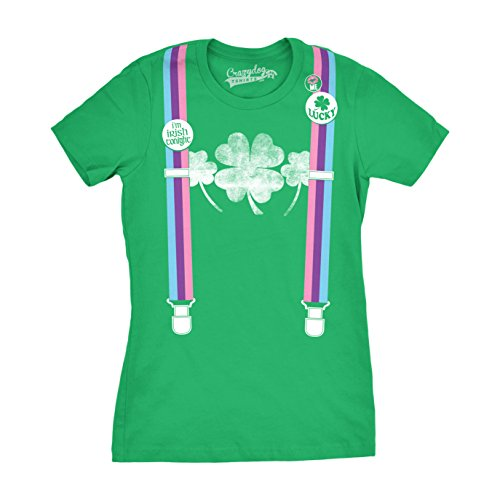 Womens Rainbow Suspenders Funny Shamrock Irish St. Patrick's Day T Shirt (Green) L